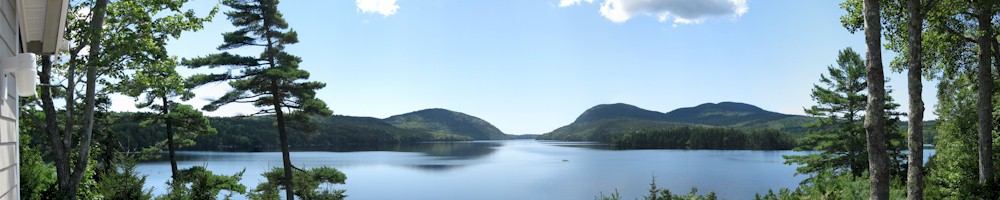 Panoramic View of Long Pond and Acadia's Western Mountains, Mount Desert Maine